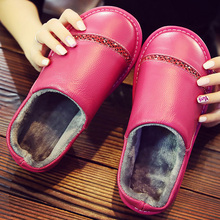 Plus size 4.5-11 genuine leather slippers women home slippers