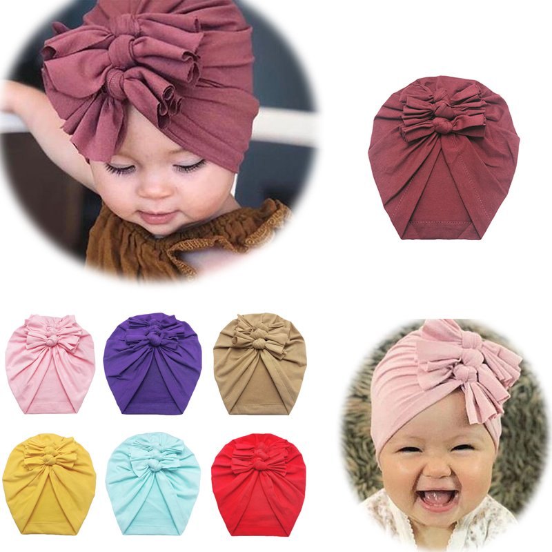 Baby Headband Hat Bowknot Print Cotton Stretchy Turban Headband Infant Head Wrap Beanie Hat Girls Headwear Baby Hair Accessories