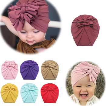 Baby Headband Hat Bowknot Print Cotton Stretchy Turban Headband Infant Head Wrap Beanie Hat Girls Headwear Baby Hair Accessories