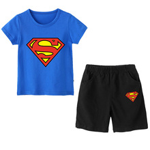 цена на Superman T-Shirt Cartoon Tops Baby Boy Clothing Set Summer Children Boys Clothes Shorts Two Piece Suit for Kids Casual Outfit
