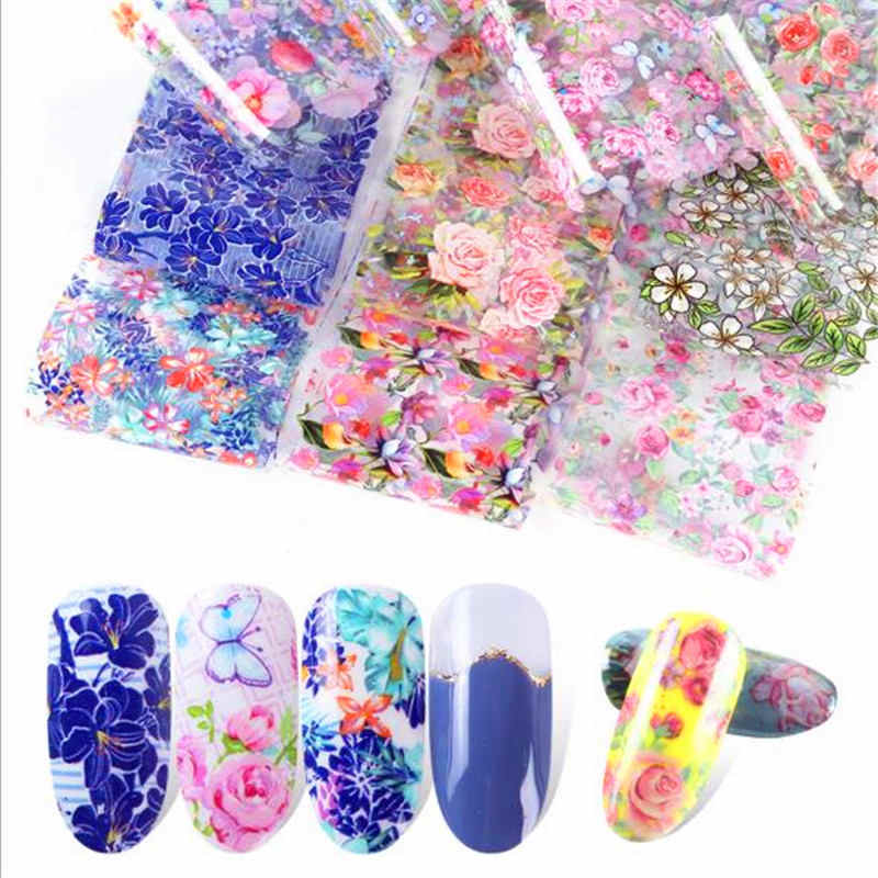 10pcs Nail Foil Polish Stickers Mix Rose Flower Transfer Foil Nails Decal Beautiful Sliders For Nail Art Decoration Manicure