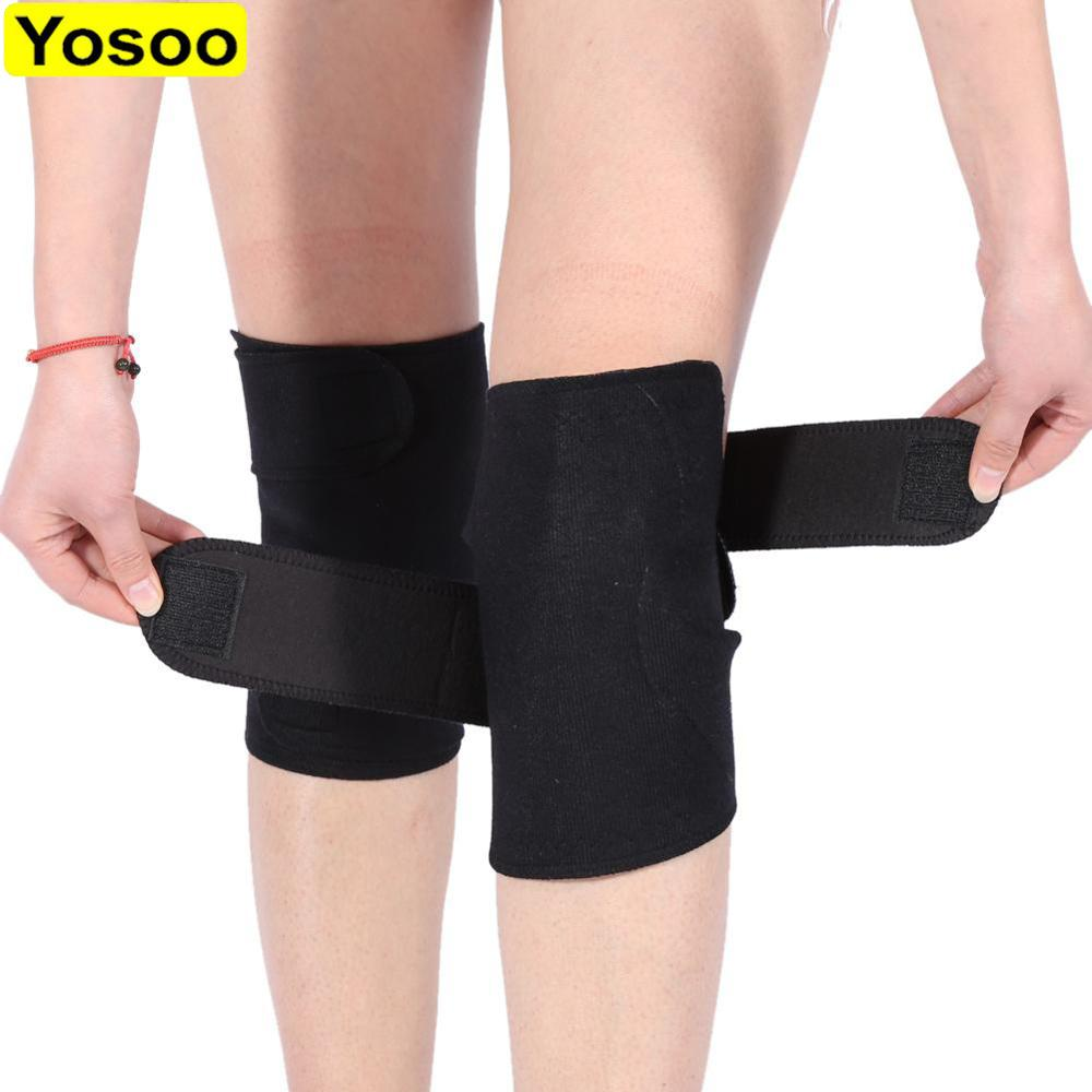 1 Pair Tourmaline Self-heating Knee Protector Magnetic Therapy Knee Protective Belt Arthritis Brace Supports