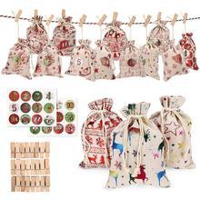 24PCS Christmas Gift Bags Christmas Calendar Countdown Jute Bag