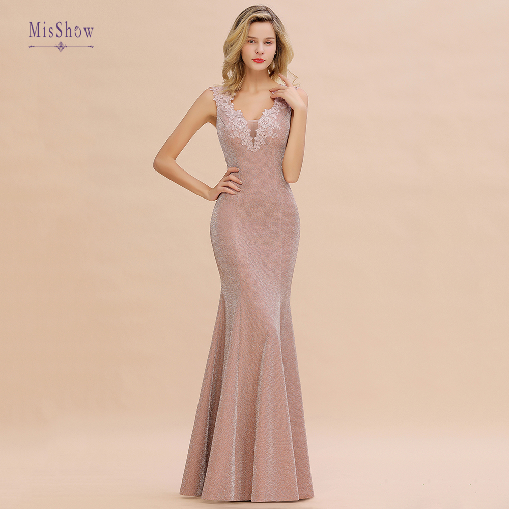 Vestidos Elegantes 2019 New Glitter Fabric Long Evening Dresses Mermaind Dress Bride Party Formal Prom Dresses Vestido De Festa