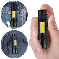 Latarka LED COB super bright wodoodporna ładowalna zoom ręczna latarka z światło boczne latarka kieszonkowa światło robocze em