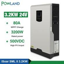 500Vdc Solar Inverter 3200W 24V 220V 80A MPPT 4000W PV Pure Sine Wave Inverter 3Kva 50Hz 60HZ Off Grid Inverter Charger inversor