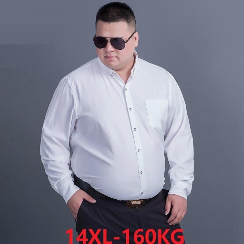 FAISIENS 5XL 8XL 10XL 12XL 14XL Large Size Men Shirt Long Sleeved Purple Black Blue Business Formal Mens Oversize Office Shirt