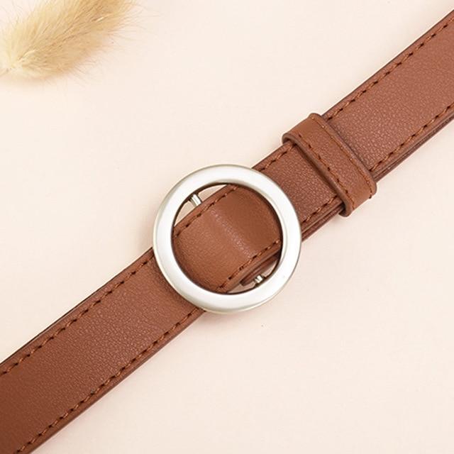 NO. ONEPAUL женский ремень с и пряжками, Золотая Пряжка, джинсы, дикие ремни для женщин, модные, студенческие, простые, новые - Цвет: SSM01 brown silver