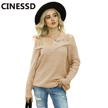 CINESSD Women Cold Shoulder Knitted Sweater Gray Pullover Sexy Spaghetti Straps Solid Long Sleeves Casual Autumn Winter Sweaters pink hollow design cold shoulder long sleeves blouses