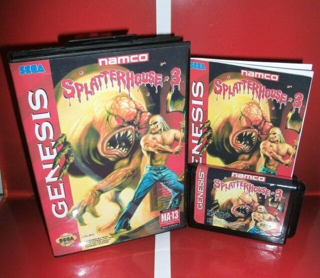 MD 게임 카드 Splatter House Part 3 US 커버 박스 및 설명서 포함 Sega Megadrive Genesis 비디오 게임 콘솔 16 비트 MD 카드