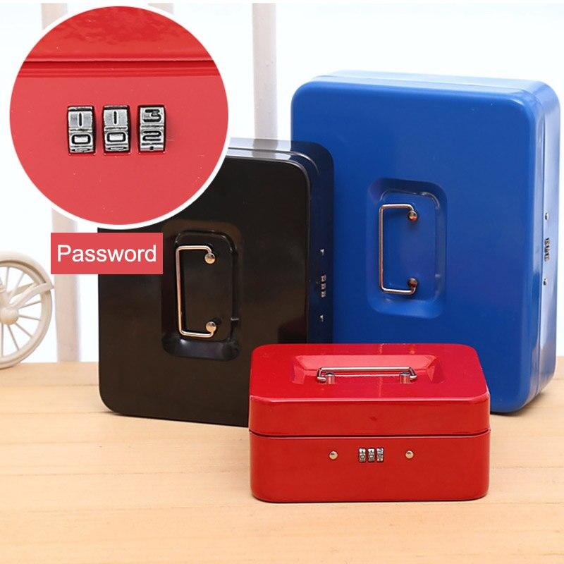 Password Mini Cash Money Safe Box Practical Metal Stainless Steel Secret Box 3 Digit Combination Key Storage Lock Box