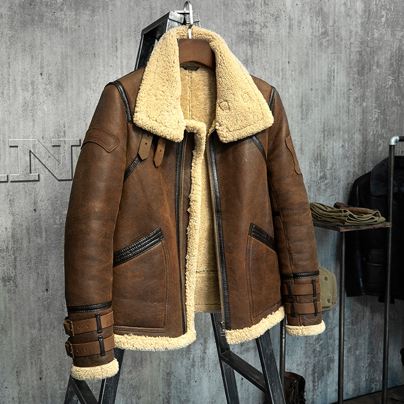 Men's Sheepskin Shearling Jacket B3 Flight Jacket Fur Leather Jacket Imported Wool From China Brand Men's Sheepskin Aviator Coat