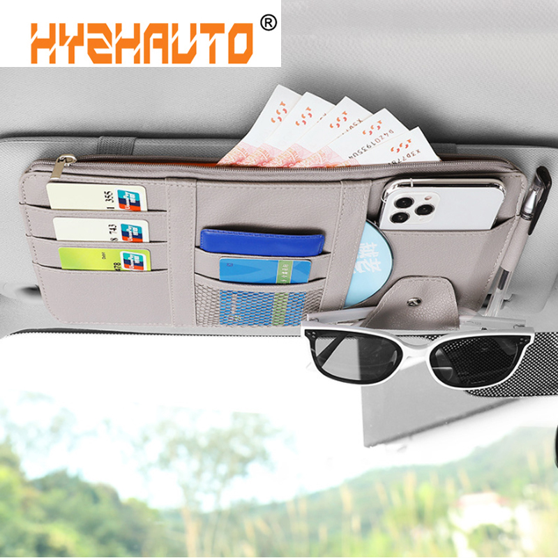 HYZHAUTO Multifunction Car Sun Visor Organizer Pen Card Glasses Holder Auto Sunshade Storage Bag Stowing Tidying