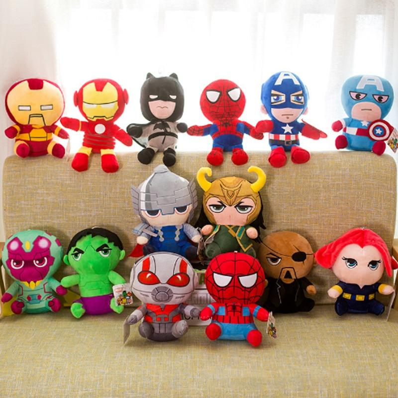 25cm Marvel Avengers 4 Superhero All Staff Plush Toy Dolls Captain America Ironman Iron Man Spiderman Loki Plush Soft Toy