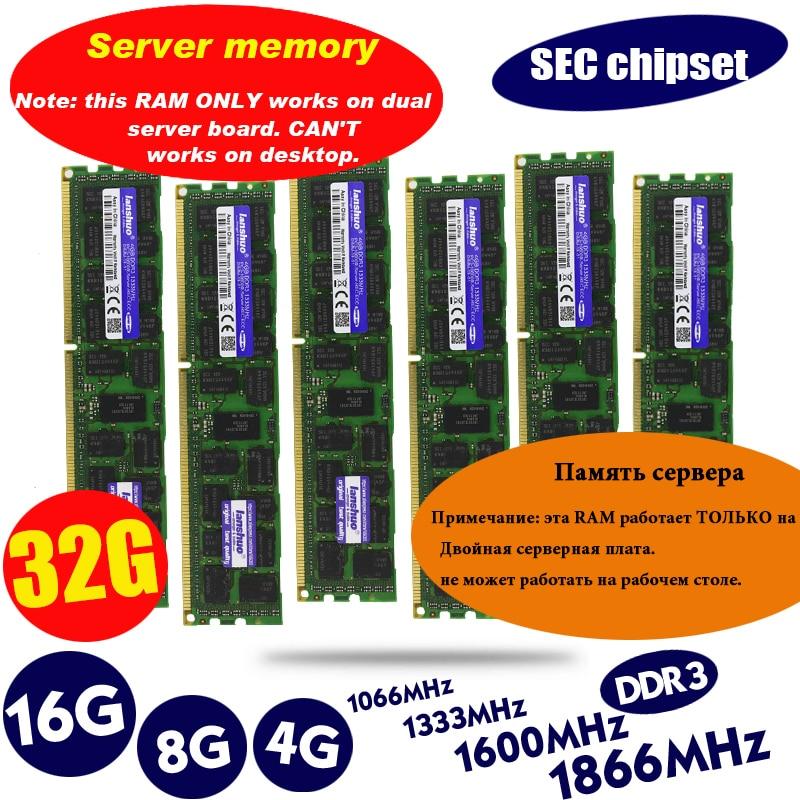 lanshuo 4GB 8GB 16GB 4G 8G 16G DDR3 PC3 1866Mhz 1600Mhz 1333 14900 12800 10600 R 1333MHZ PC Server PC Memory RAM Memoria Module RAMs  - AliExpress