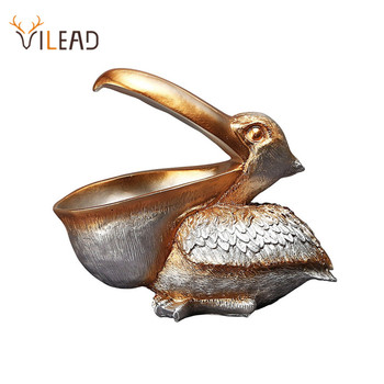 VILEAD 22cm Resin Pelican Figurines Key Holder Entrance Feng Shui Home Accessories Storage Animal Ornament New Year Gift Craft