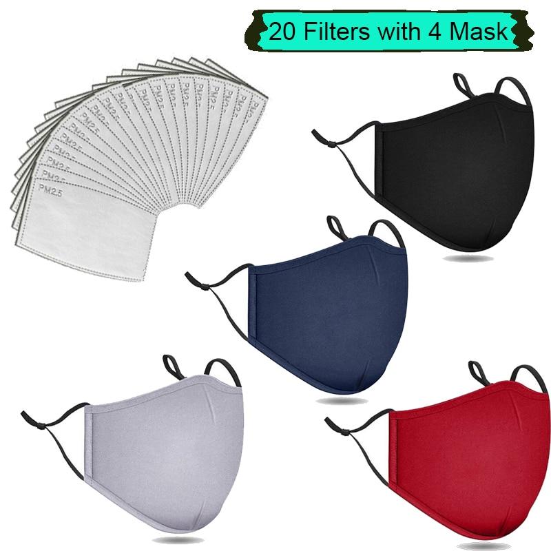 Для выведения токсинов, 40 шт фильтры модная многоразовая смываемая маска против загрязнения PM2.5 Рот Респиратор маски для лица, хлопковые, ун...