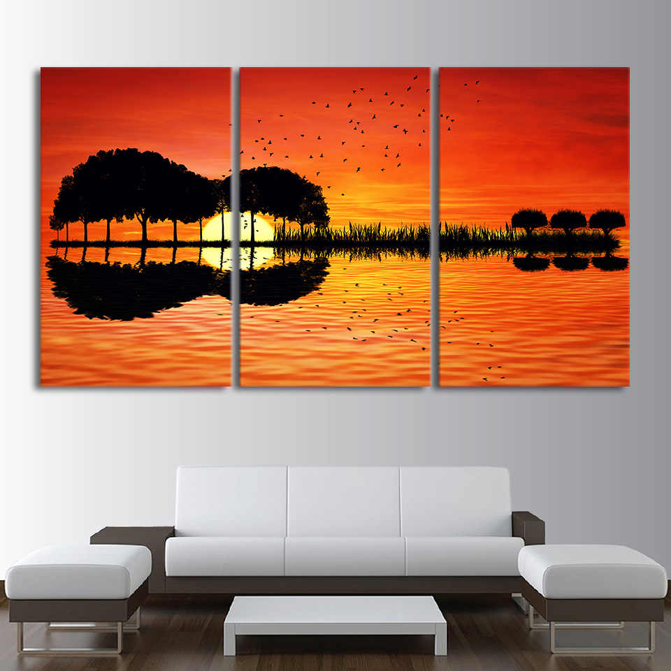 Artistic Printed Drawing On Canvas Guitar Tree Lake Sunset Spray Painting Decoration Home Decor Framed Wall Art Picture Cu 1311b Painting Calligraphy Aliexpress