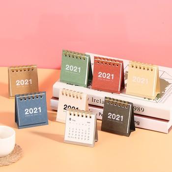 Mini Desk Calendar 2021 2021 Creative Desktop Ornaments Portable Work Note Calendar New Year Plan Schedule 1