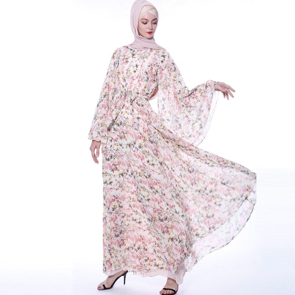 Floral Abaya Dress Women Hijab Dress Kaftan Dubai Abaya Turkey Muslim Vestidos Retro Prayer Islamic Clothing Robe Femme 2