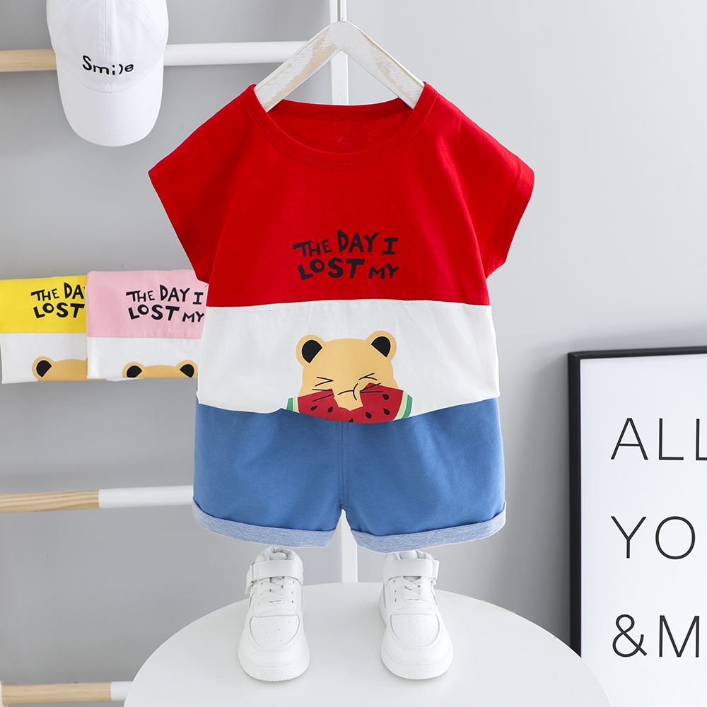 Baby Girls Clothing Toddler Boys Summer Clothes 1 2 3 4 Years Children Short Sleeve Kits Patchwork T-shirt + Shorts Kids Sets