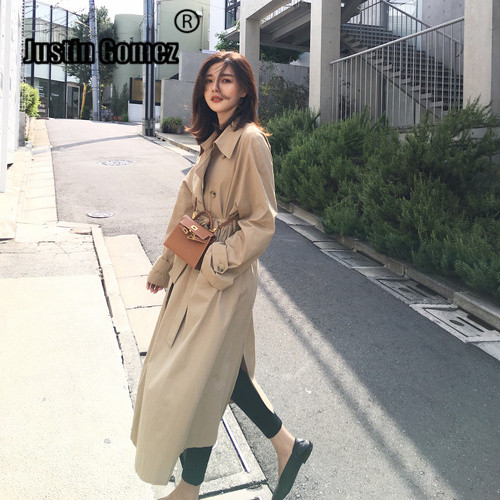 Khaki Classic Tide Female   Trench   Coat Women Double Breasted Office Chic Long   Trench   Cut Female Wind Windproof Belt Women's Coat