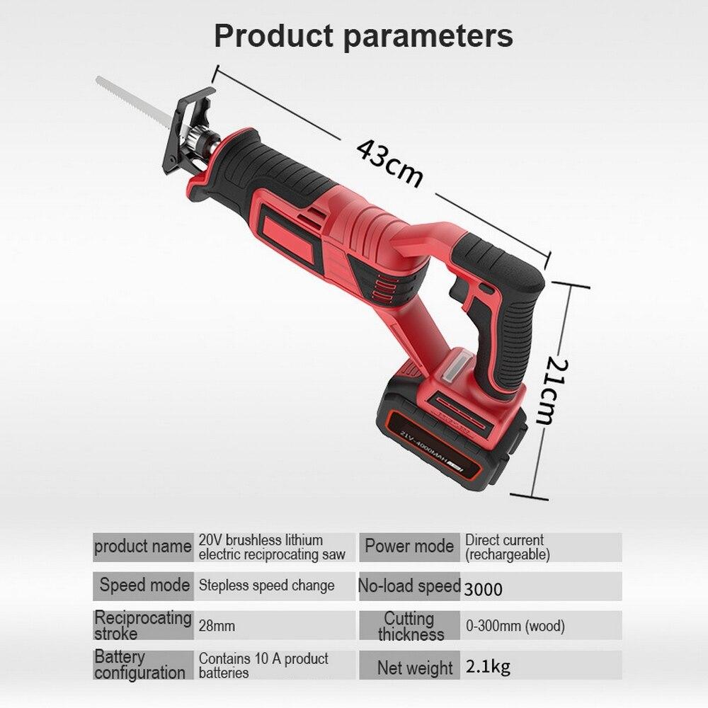 DC12V sin escobillas de litio eléctrico de sierra alternante inalámbrica 3000RPM herramienta de sierra LED de preocupación corte de tarifa en una máquina para madera de Metal