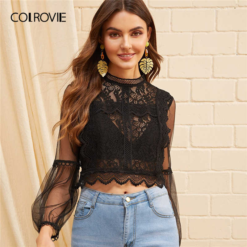 COLROVIE Black Sheer Mesh Mouw Guipure Kant Crop Blouse Vrouwen Bisschop Mouwen Blouse 2019 Fall Casual Stand Kraag Sexy Blouses