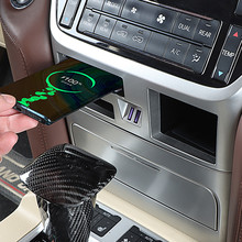 For Toyota Land Cruiser 200 2016 2017 2018 2019 2020 USB Wireless Charging of Multifunctional Central Control Storage Cassette
