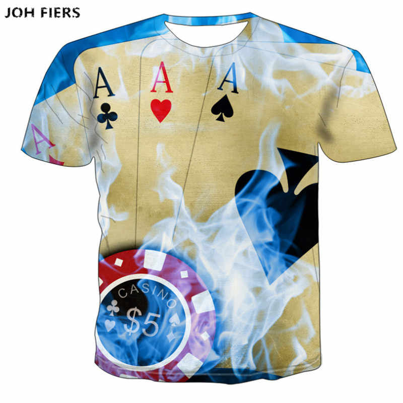 JOH FIERS Brand Poker T shirt Playing Cards Clothes Gambling Shirts Las Vegas Tshirt Clothing Tops Men Funny 3d t-shirt