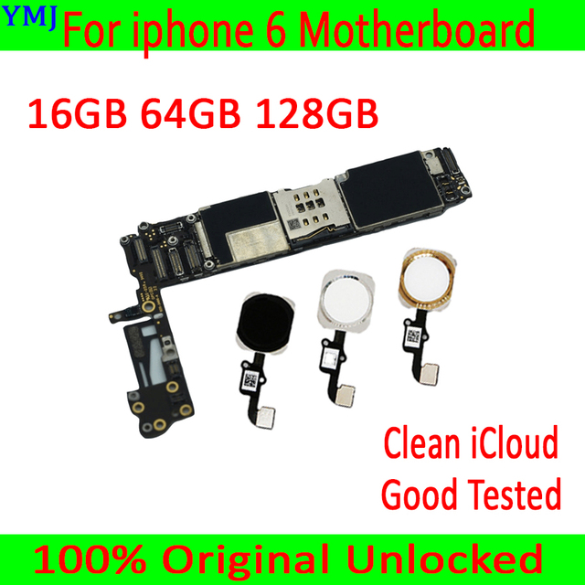 Clean iCloud for iphone 6 4.7 inch Motherboard with/without Touch ID,100% Original unlocked for iphone 6 Mainboard +IOS System