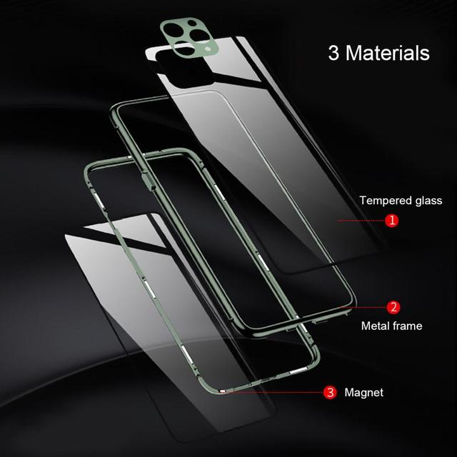 iPhone 11 Pro Max Metal Bumper Double Sided Glass Case Cover