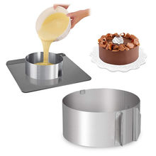 16-30cm Retractable Cake Molds Stainless Steel Baking Moulds Fondant Molds Cutters Round Form Ring Mold Cake Decoration Tool