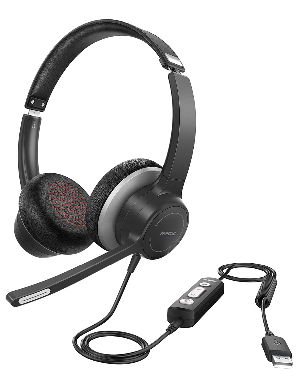Mpow 328 Wireless Headphones USB 3.5mm Computer Headset With Microphone Noise Reduction Sound Card For PC Skype Call Center Mac (9)