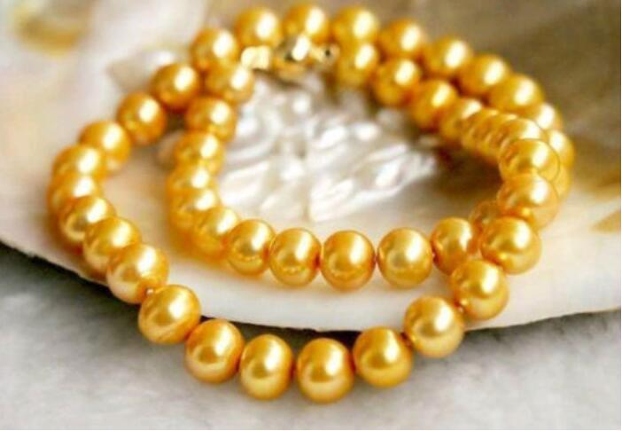 """14K Yellow Gold HOT 18/"""" 9-10MM REAL AUSTRALIAN SOUTH SEA GOLDEN PEARL NECKLACE"""