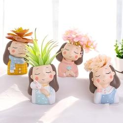Meninas quentes plantadores conjunto-4 pçs criativo plantas suculentas vasos de flores vasos de mesa mini bonsai casa decoração do jardim presentes