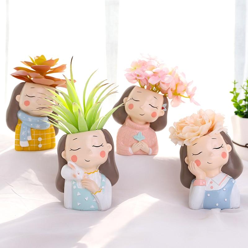 Warm Girls Planters Set - 4 Pcs Creative Succulent Plants Flower Pots Desktop Vases Mini Bonsai Home Garden Decoration Gifts