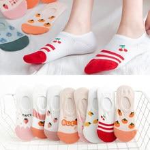 5/4/3pairs Summer Female No Show Socks Non-slip Low Cut Sock Women Invisible Socks Slipper Thin Fruit Print Boat Socks Short