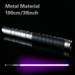 De Metal láser RGB Jedi Sith Saber luz fuerza Fx Lighting pesado duelo Color sonido Foc cerrar mango de Metal