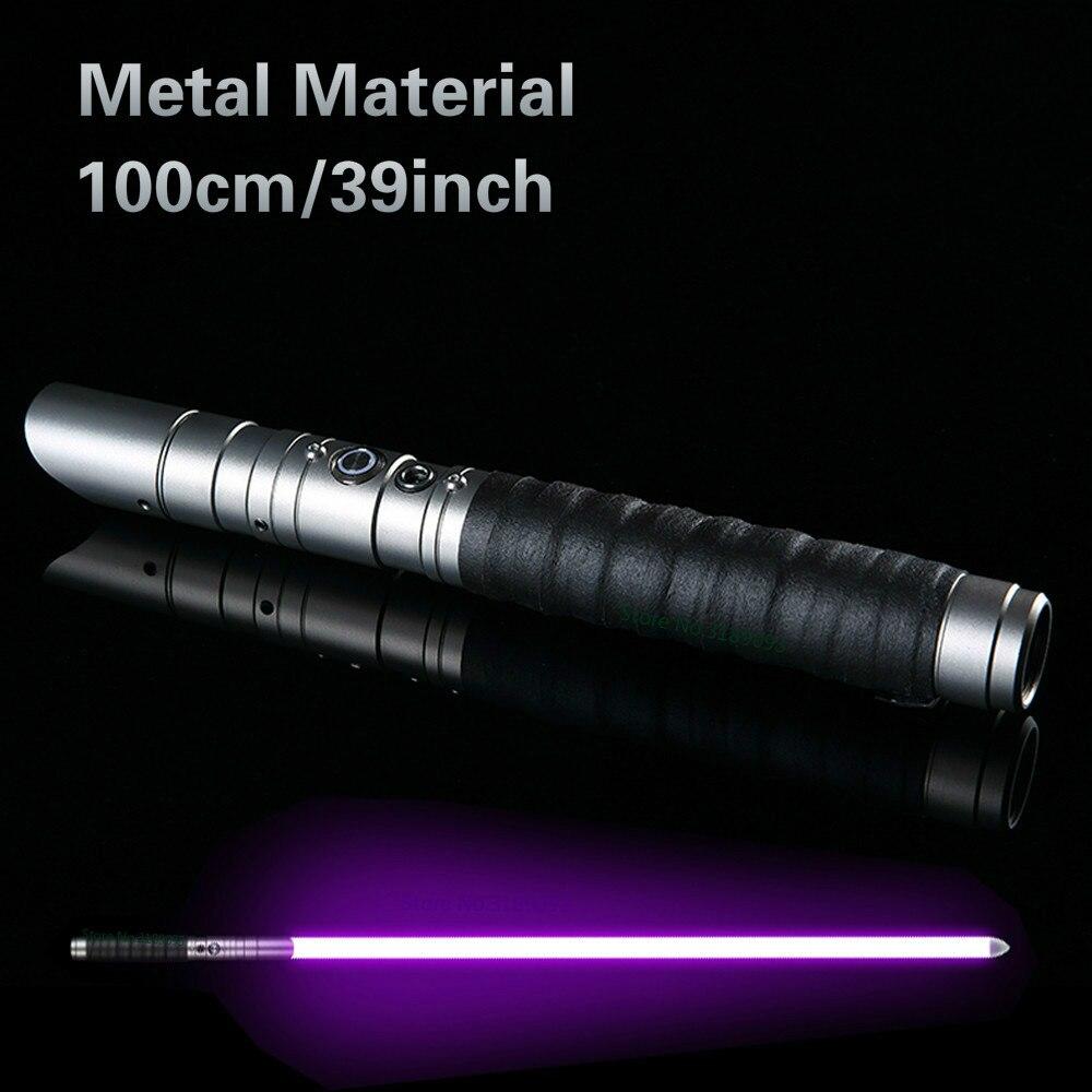 Sabre laser en métal RGB Jedi Sith sabre lumière Force Fx éclairage lourd duel couleur changeante son Foc verrouiller poignée en métal