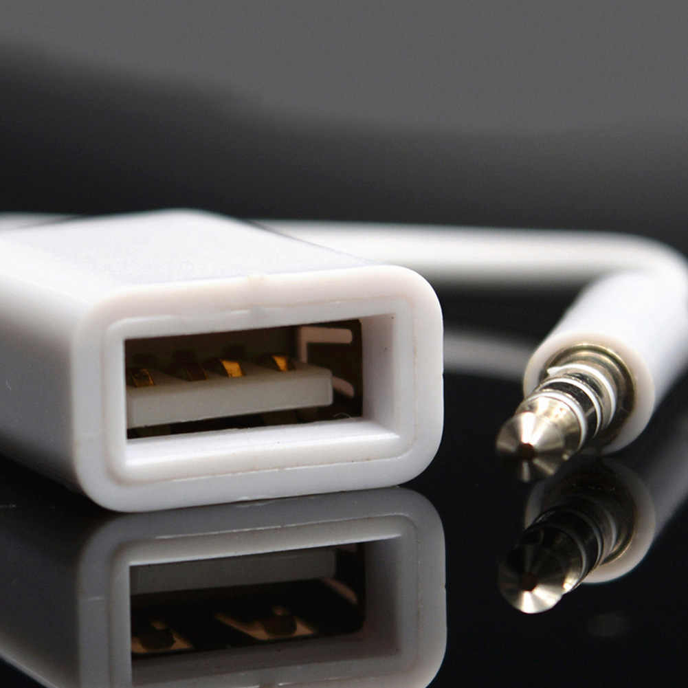 Male Connector Converter USB 2.0 3.5Mm Jack Plug Adaptor Aux Kabel Male To Female Audio Mobil #820