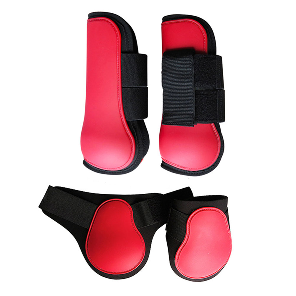 4pcs Horse Leg Boots PU Shell Riding Outdoor Sports Front Hind Adjustable Band Anti Scratching Equestrian Equipment Training
