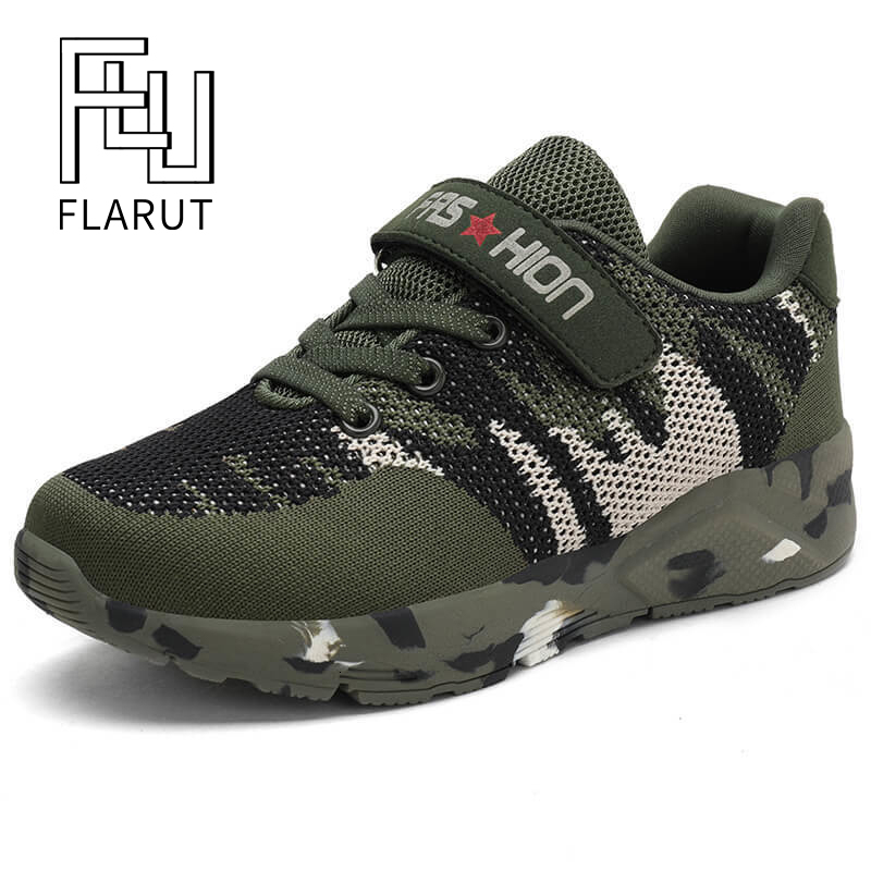 FLARUT Children Sports Shoes Military Training Camouflage Boys Sneakers Army Green Outdoor Kids Running Shoes For Girls Trainers