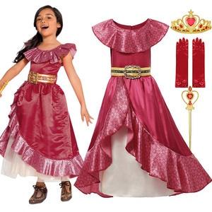 Elena Van Avalor Kostuum Voor Kinderen Prinses Jurk Up Sash Belted Zomer Jurken Gown Meisjes Party Cosplay Pasen Carnaval Kleding