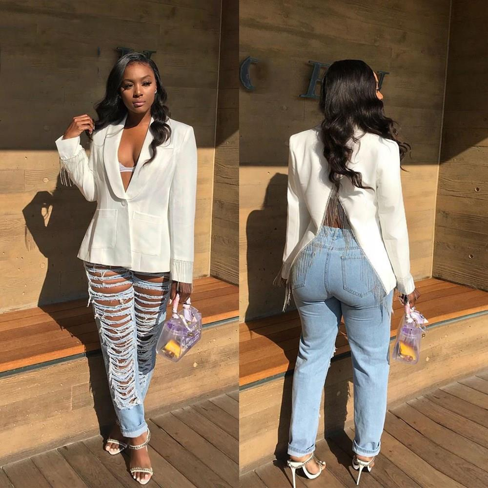 Fashion 2019 Long Sleeve Tassel Backless Blazer Women Fall Splicing Notched V-Neck Blazers Club Vintage Sexy Coats