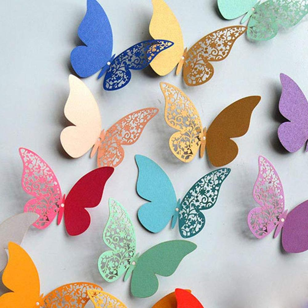 12pcs 3d Pearl Paper Butterfly Wall Sticker Beautiful Butterflies Art Decals Home Decoration Stickers For Wedding Room Wall Wall Stickers Aliexpress