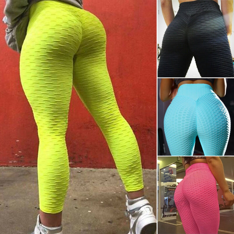 Women Sports Pants High Waist Yoga Fitness Leggings Running Gym Scrunch Trousers