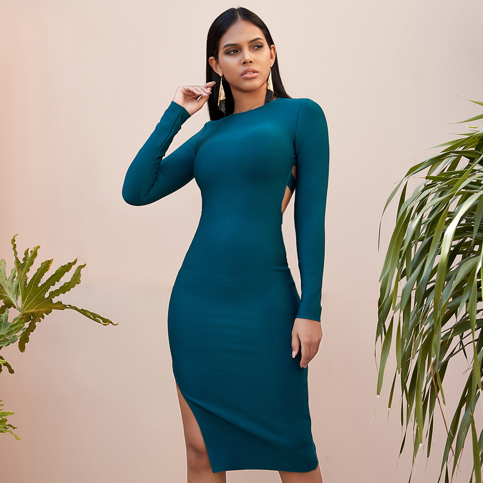 Seamyla Sexy Winter Green Backless Long Sleeve Bandage Dresses Hollow Out Women Night Club Midi Bodycon Evening Party Vestidos