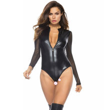 Soft Faux Leather Leotard Sexy Lingerie Mesh Transparent Bodysuit Breast Exposing Women Hot Erotic Underwear Latex Catsuit Sex
