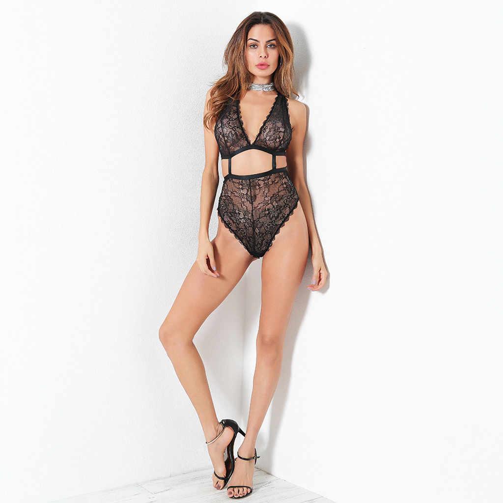 Frauen Bodys Neue Körper Renda Spitze Sexy V-ausschnitt Dessous Unterwäsche Aushöhlen Backless Overall Bodysuit Solide Polyester Teddies